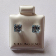 5mm square Princess cut Aqua Cubic Zirconia Sterling silver Stud earrings